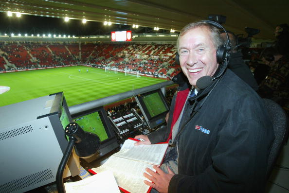 Sky television commentator Martin Tyler in the commentary box